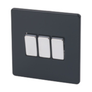 Varilight 3-Gang 2-Way 10A Jet Black Metal Rockers Switch