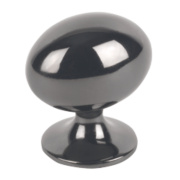 Oval Knob Black Nickel 30mm Pack of 2