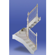 Unbranded Stairways Chamfered Middle Winder Staircase RH Unfinished