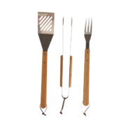 Grillstream Classic Bamboo Barbecue Tools 3 Piece Set Tongs, Turners & Fork