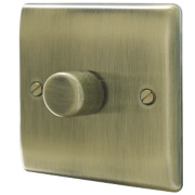 British General 1-Gang 2-Way Push Dimmer Switch 400W Antique Brass