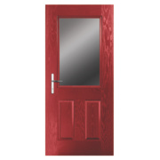 Unbranded Lytham Composite Front Door Clear Glass Red GRP 840 x 2055mm