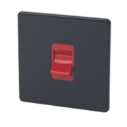 Varilight Jet Black 1-Gang 45A Red Cooker Switch (Single Plate)