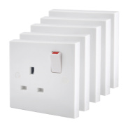 British General 13A 1-Gang Single Pole Switched Plug Socket White Pack of 5