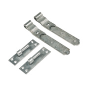 Gate Hinges Cranked Hook & Band Pack Spelter Galvanised 50 x 610 x 165mm