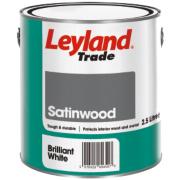 Leyland Trade Satinwood Paint Brilliant White 2.5Ltr