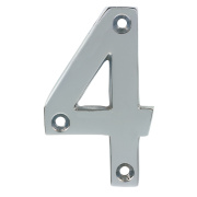 Door Numeral No. 4 Polished Chrome