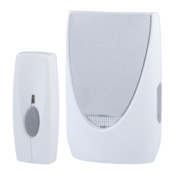 Wireless 100m Portable Chime with Flashing Light & Li-Ion Bell Push White