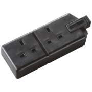 Masterplug Heavy Duty 13A 2-Gang Double Pole Rewireable Socket Black