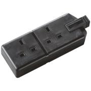 Masterplug Heavy Duty 13A 2-Gang Double Pole Rewireable Socket Black