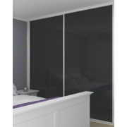 2 Door Sliding Wardrobe Doors White Frame Black Glass Panel 1480 x 2330mm
