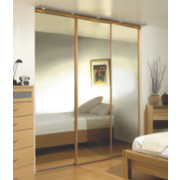 3 Door Wardrobe Doors Oak Effect Frame Mirror Panel 2745 x 2330mm