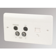 MK TV / FM / Satellite Quadruplex with Slave Telephone Socket White