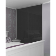 2 Door Sliding Wardrobe Doors Silver Frame Black Glass Panel 1480 x 2330mm
