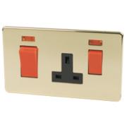 Crabtree 45A DP Switch /13A Socket +Neon Pol Brss Flt Plt
