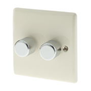 British General 2-Gang 2-Way Push Dimmer Switch 400W Cream