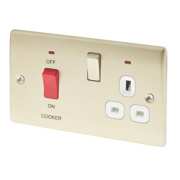 BG 2-Gang 45A DP Cooker Switch & 13A Plug Socket w/ LED Pearl Nickel