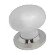 Jedo Latch Door Handle Pair White & Polished Chrome 60mm