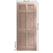 Jeld-Wen Eversley Multipurpose Exterior Door Unfinished Oak Veneer 838 x 1981mm