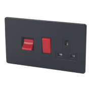 Varilight Jet Black Cooker Panel with 45A Switch & 13A Switch Socket