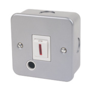 20A Double Pole Switch + Neon Light & Flex Outlet Metal-Clad