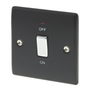 British General 20A 1-Gang DP Switch with LED Matt Black