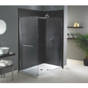 Aqualux Shine Walk-In Shower Enclosure with Tray Silver Effect 1400 x 900mm