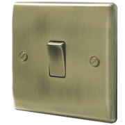 British General 1-Gang 2-Way 10AX Light Switch Antique Brass