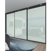 3 Door Sliding Wardrobe Doors Black Frame White Glass Panel 2660 x 2330mm