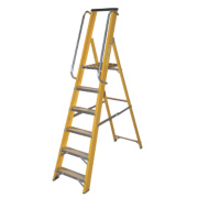 Lyte Platform Ladder with Safety Handrails Aluminium Alloy 6 Treads 1.89m