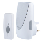 Wireless 100m Plug-In Door Chime with Flashing Light & Li-Ion Bell Push Wht