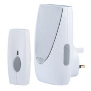 Wireless 100m Plug-In Door Chime with Flashing Light & Li-Ion Bell Push Wht