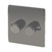British General 2-Gang 2-Way Push Dimmer Switch 400W Black Nickel