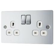 LAP 13A 2-Gang DP Switched Plug Socket Polished Chrome