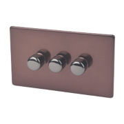 Varilight 3-Gang 1 / 2-Way Mocha Push Dimmer 3 x 250W