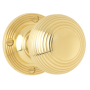 Jedo Frelan Traditional Rimmed Mortice Knob Pair Polished Brass 53mm