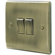 British General 2-Gang 2-Way 10AX Light Switch Antique Brass