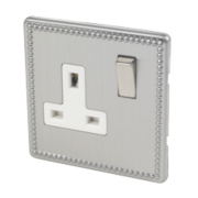 Varilight 1-Gang 13A DP Switched Socket Beaded Steel