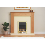 Be Modern Avondale Surround, Back Panel & Hearth Oak Veneer & Micro Marble