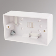 LAP 2-Gang Surface Pattress Box w/ Cable Clamp & Earth Terminal White 46mm