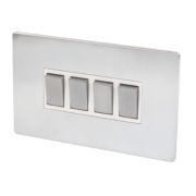LAP 4-Gang 2-Way 10AX Light Switch Brushed Chrome