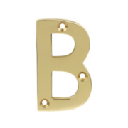 Door Numeral No. B Polished Brass Effect