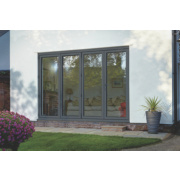 Bi-Fold Double-Glazed Patio Door Grey Aluminium 3163 x 2094mm