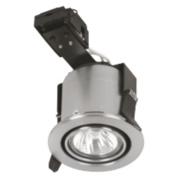 Sylvania Adjustable Round Mains Volt. FR Downlight Brushed Steel 24V