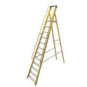 Lyte Platform Ladder with Safety Handrails Aluminium Alloy 12 Treads 3.17m