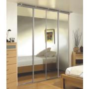 Unbranded 4 Door Wardrobe Doors Silver Frame Mirror Panel 3040 x 2330mm