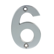 Door Numeral No. 6, 9 Polished Chrome