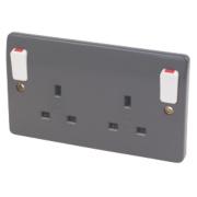 MK Logic Plus 13A 2-Gang DP Switched Plug Socket & Outboard Rocker Graphite