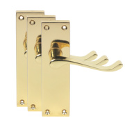 Short Back Victorian Scroll Door Handles Polished Brass Effect