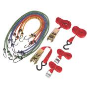 Ratchet Cambuckle Tie-Down & Bungee Set m x mm 12 Piece Set
